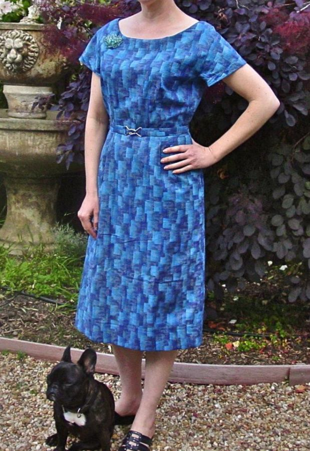 Vintage 1958 sewing pattern Advance 8617 blue dress sewn by Kelina Lobo