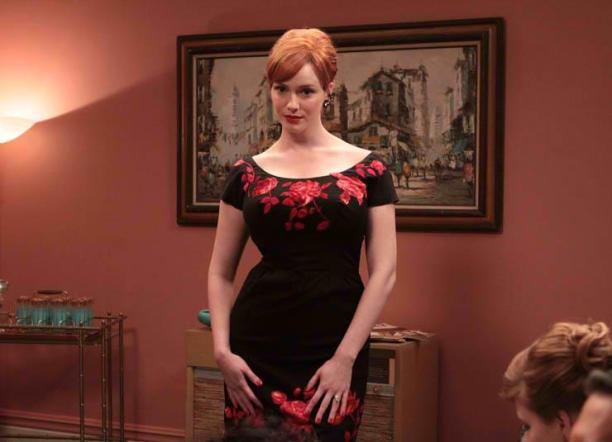Joan's accordion scene, in Season 3, Episode 3 of Mad Men.