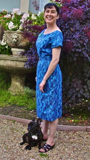 Vintage Advance 8617 blue dress sewn by Kelina Lobo