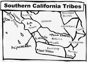 Southern California tribes. Notice the Acjachemem and Luiseño areas between Los Angeles and San Diego. Click on the map to see it enlarged.